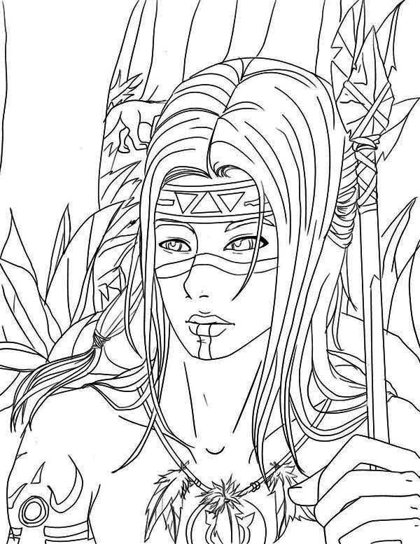 Native American, : Native American Warrior Coloring Page