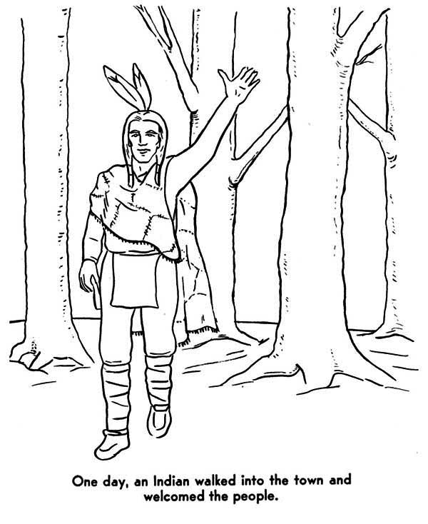 native american welcoming people coloring page