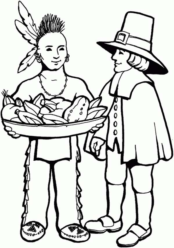 Native American, : Native American and White Skin Coloring Page