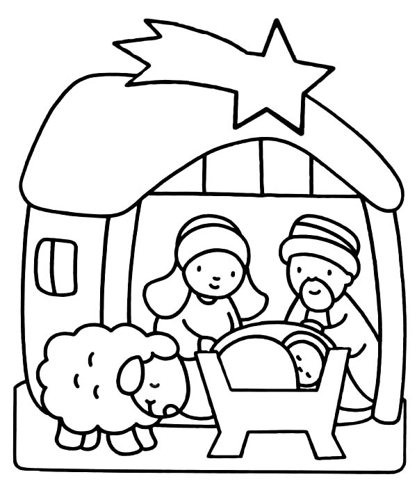 Baby Jesus, : Nativity of Baby Jesus Coloring Page