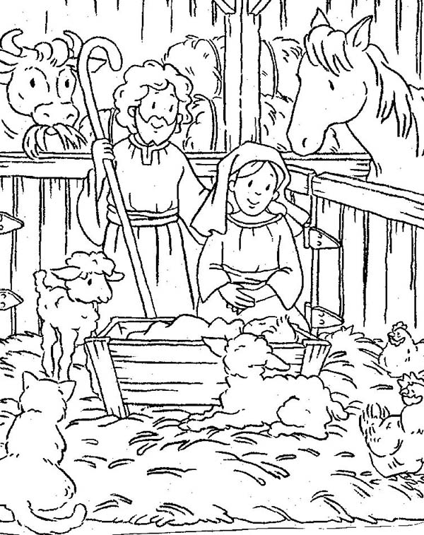 Nativity of Baby Jesus in a Manger Coloring Page  Kids Play Color