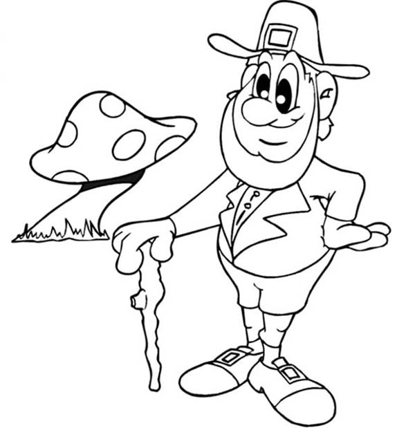 St Patricks Day, : Old Leprechaun and Mushroom on St Patricks Day Coloring Page