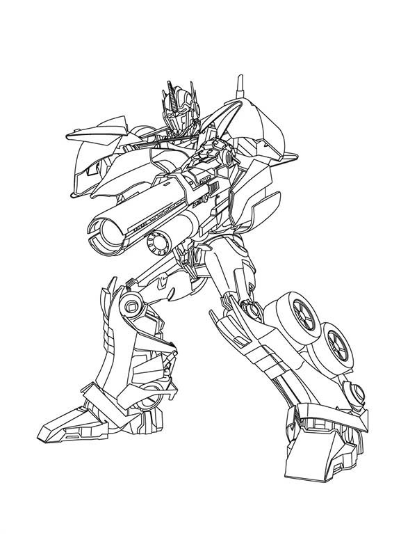 Transformers, : Optimus Prime Great Bazooka in Transformers Coloring Page