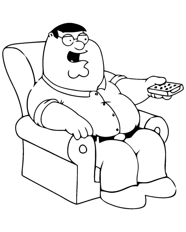 Family Guy, : Peter Using TV Remote in Family Guy Coloring Page