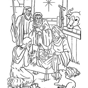 Nativity of Baby Jesus in a Manger Coloring Page Nativity of Baby