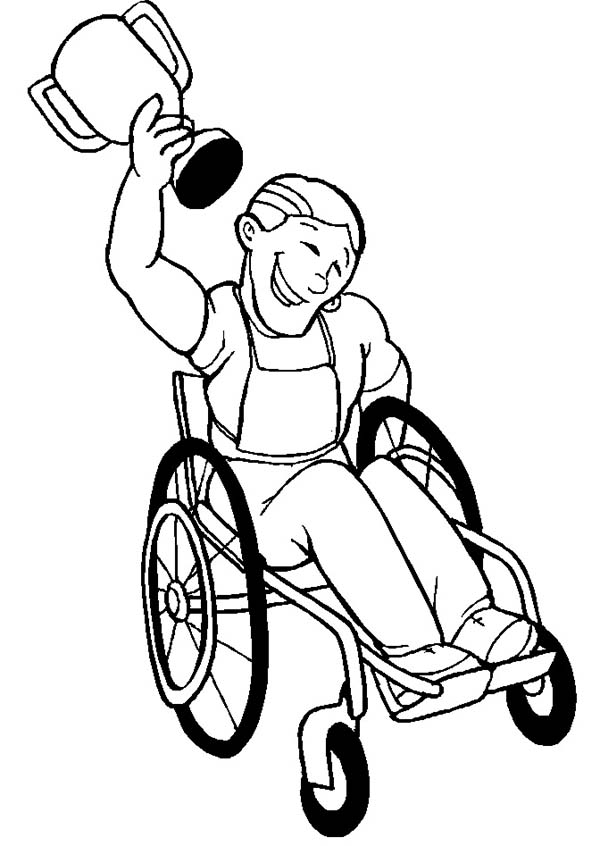 Disability, : Picture of Disability Athlete Win a Game Coloring Page