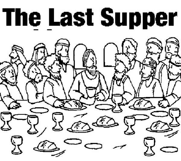 Last Supper, : Picture of the Last Supper Coloring Page