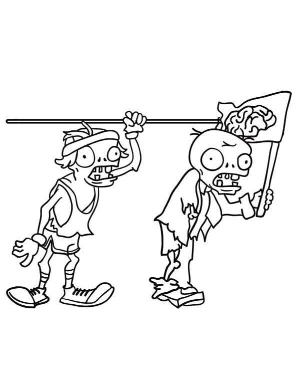 Zombie, : Plants vs Zombies Two Zombie Looking for Brain Coloring Page