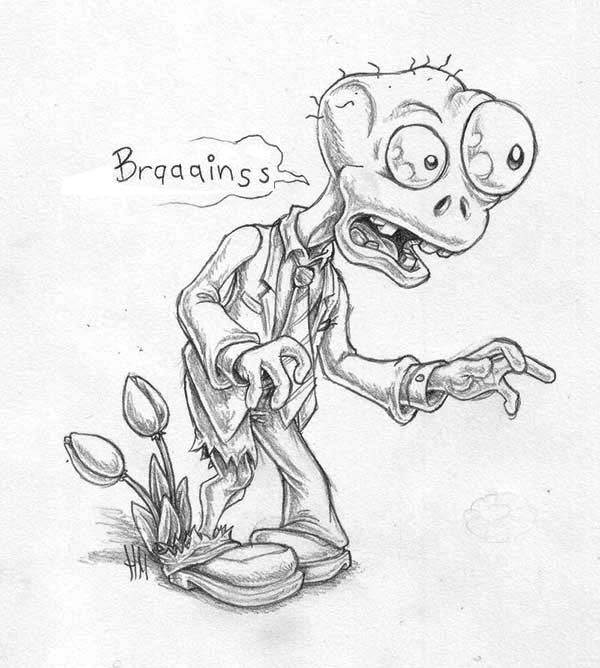 Zombie, : Plants vs Zombies Zombie Coloring Page