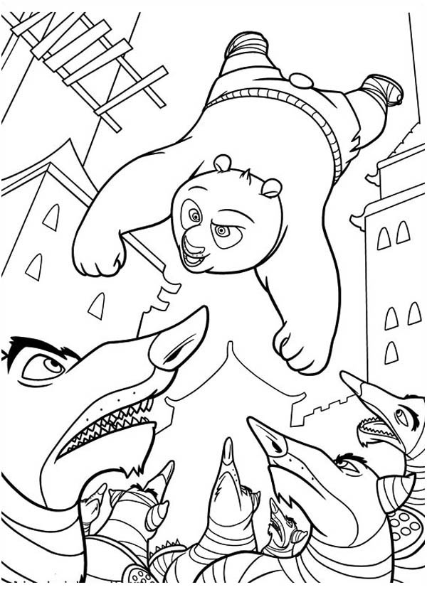 Kung Fu Panda, : Po Attacking Enemy from Above in Kung Fu Panda Coloring Page