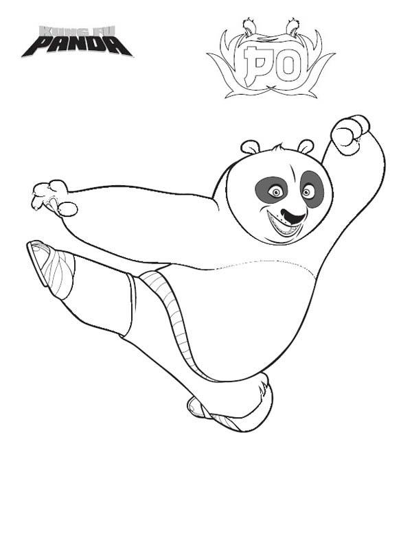 Kung Fu Panda, : Po Jumping Kick in Kung Fu Panda Coloring Page