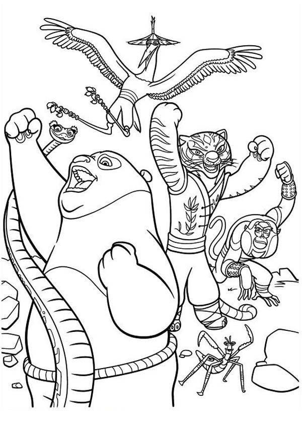 Kung Fu Panda 3 Colouring In Sheets Furious Five Victory Coloring
