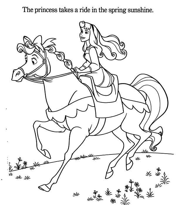 Princess Aurora, : Princess Aurora Riding a Horse Coloring Page