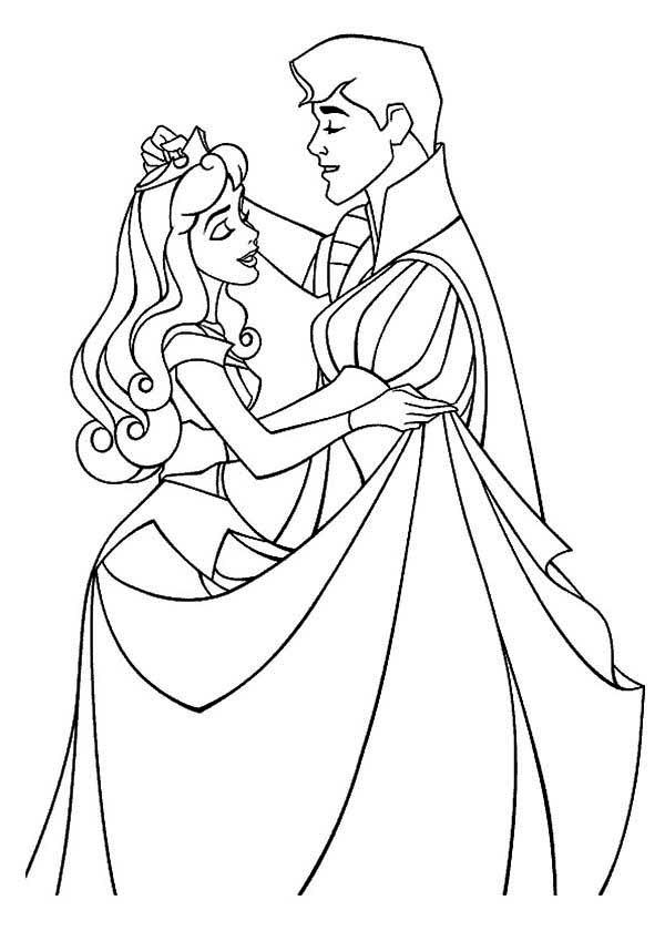 Princess Aurora, : Princess Aurora Take Prince Phillip on a Dance Coloring Page