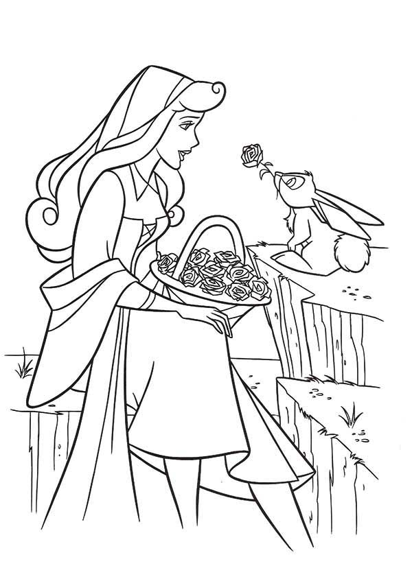 Princess Aurora, : Princess Aurora with a Basket Full of Roses and a Rabbit Coloring Page