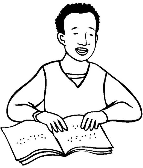 Disability, : Reading Book with Braille in Disability Coloring Page