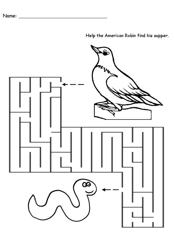 Robin, : Robin Maze Coloring Page