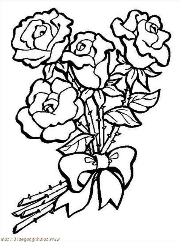 Flowers, : Roses and Ribbon Flower Coloring Page
