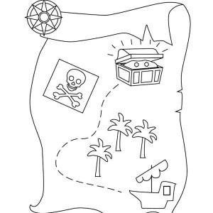 sailing with treasure map coloring page