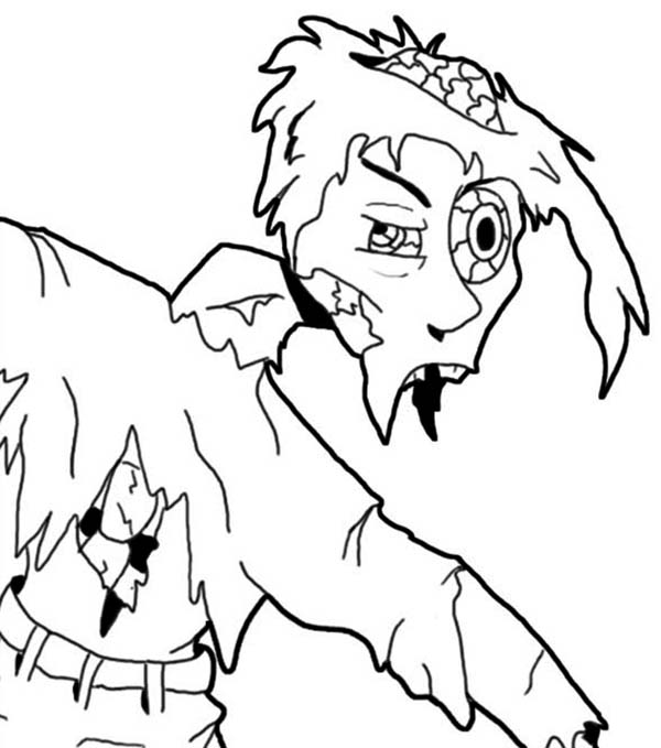 Zombie, : Scarecrow Zombie Coloring Page