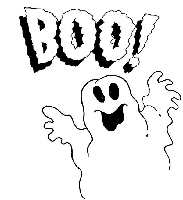 Ghost, : Scary Ghost Coloring Page