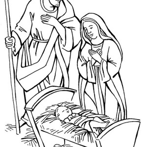 shepherd and mary adore baby jesus coloring page