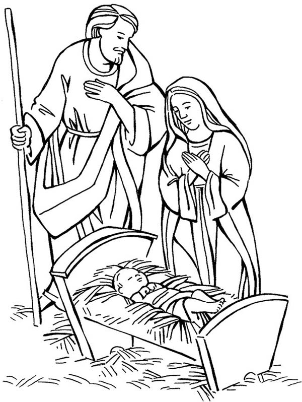 Baby Jesus, : Shepherd and Mary Adore Baby Jesus Coloring Page