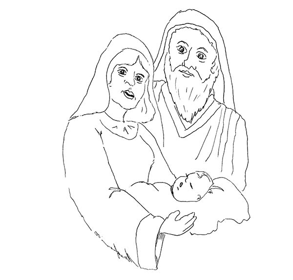 Baby Jesus, : Shepherd and Mary and Baby Jesus Coloring Page