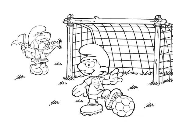 The Smurf, : Smurf Playing Football in The Smurf Coloring Page