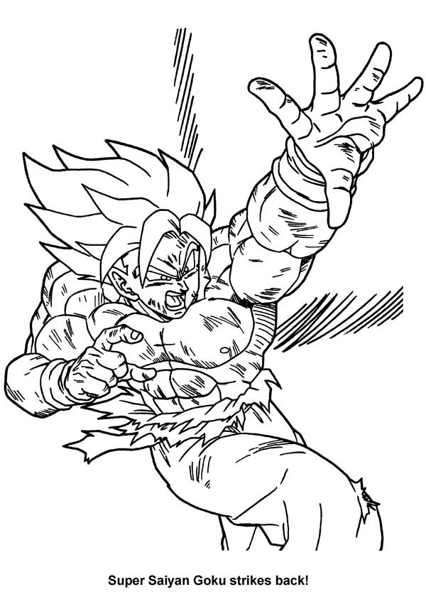 Dragon Ball Z, : Son Goku Super Saiyan Strike Back in Dragon Ball Z Coloring Page