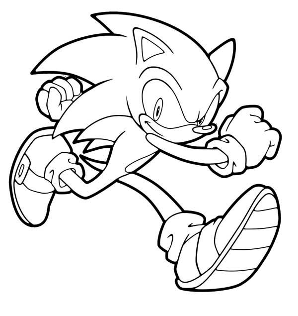 Sonic the Hedgehog, : Sonic the Hedgehog Running Coloring Page
