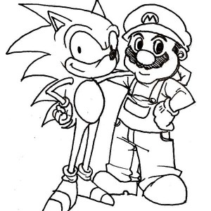 sonic the hedgehog and mario coloring page - Sonic Hedgehog Coloring Pages