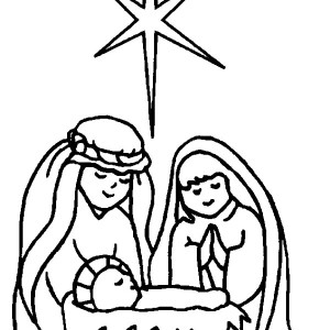 star of bethlehem in born of baby jesus coloring page