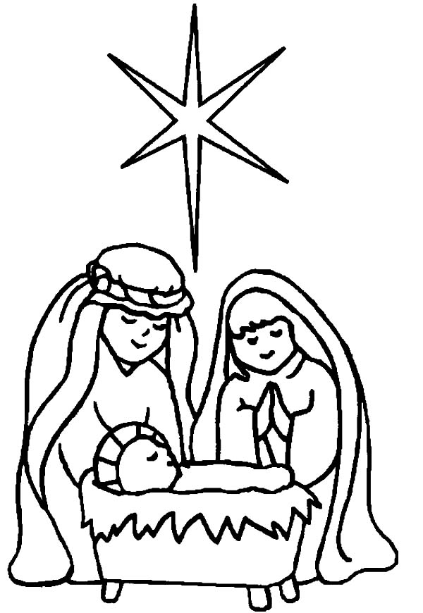 Baby Jesus, : Star of Bethlehem in Born of Baby Jesus Coloring Page