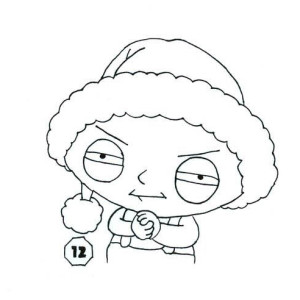 interesting stewie wearing santa hat in family guy coloring page with family guy coloring pages