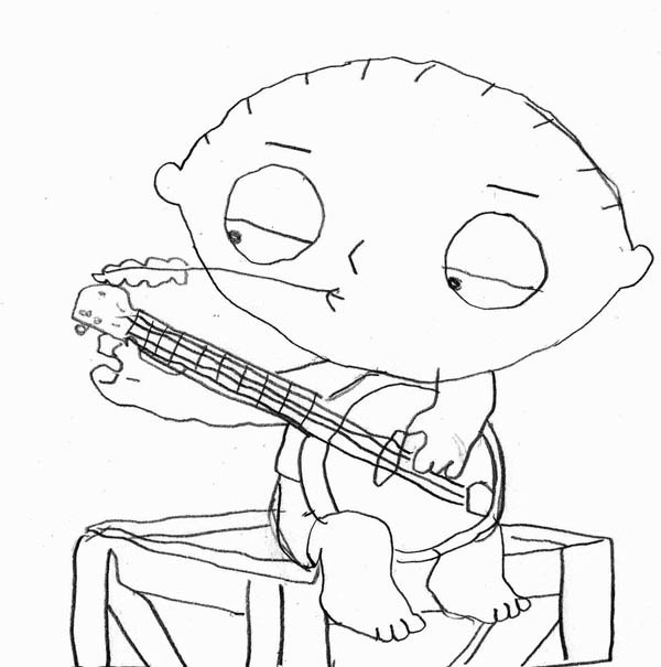 Family Guy, : Stewie and His Banjo in Family Guy Coloring Page