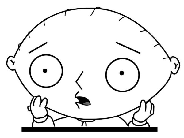 Family Guy, : Stewie is Not Believing in Family Guy Coloring Page