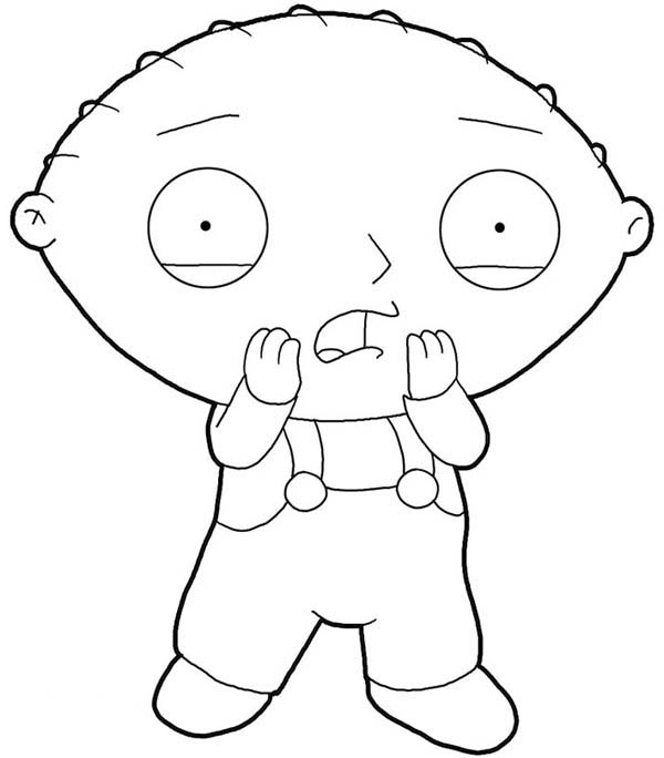 Family Guy, : Stewie is Surprised in Family Guy Coloring Page