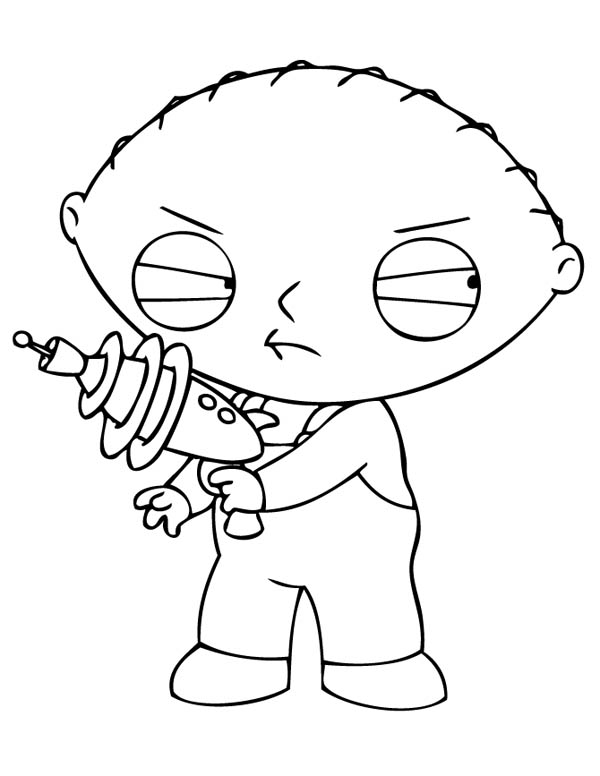 Family Guy, : Stewie with Laser Gun in Family Guy Coloring Page