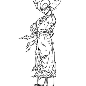 super saiyan son goku with so many wound in dragon ball z coloring page - Super Saiyan Gohan Coloring Pages