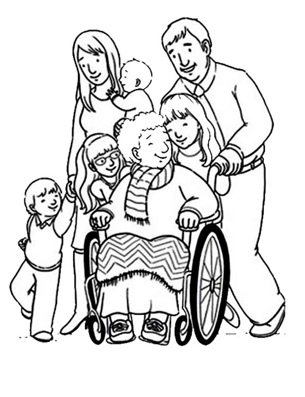 Disability, : Supporting People with Disability Coloring Page