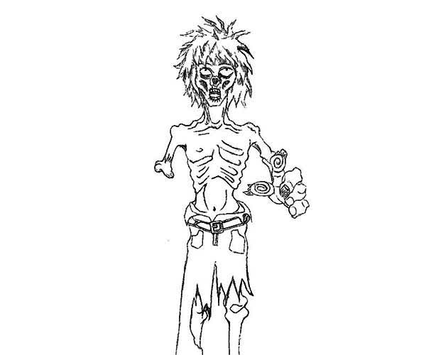 Zombie, : Terrifying Zombie Coloring Page