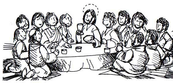 Last Supper, : The Apostles and Jesus in the Last Supper Coloring Page