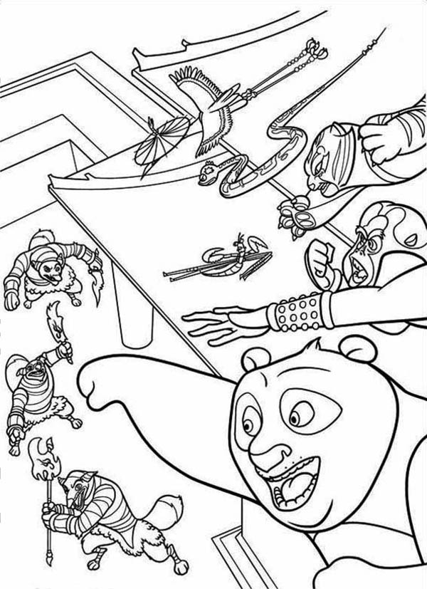 Kung Fu Panda, : The Dragon Warrior and The Furious Five Attacking the Enemy in Kung Fu Panda Coloring Page