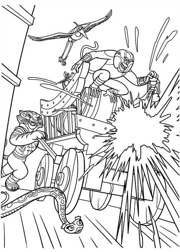 Kung Fu Panda, : The Furious Five Attacking Using Canon to Attack the Enemy in Kung Fu Panda Coloring Page