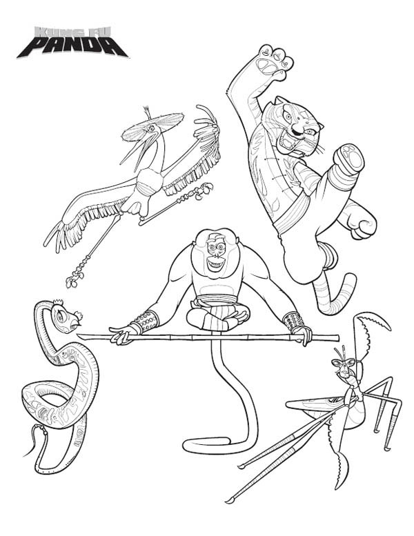 Kung Fu Panda, : The Furious Five of Kung Fu Panda Coloring Page