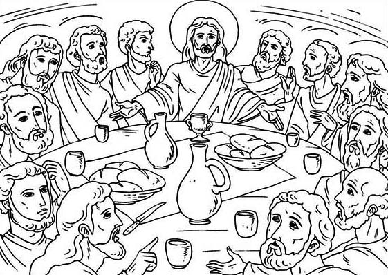 Last Supper, : The Lord's Supper in the Last Supper Coloring Page