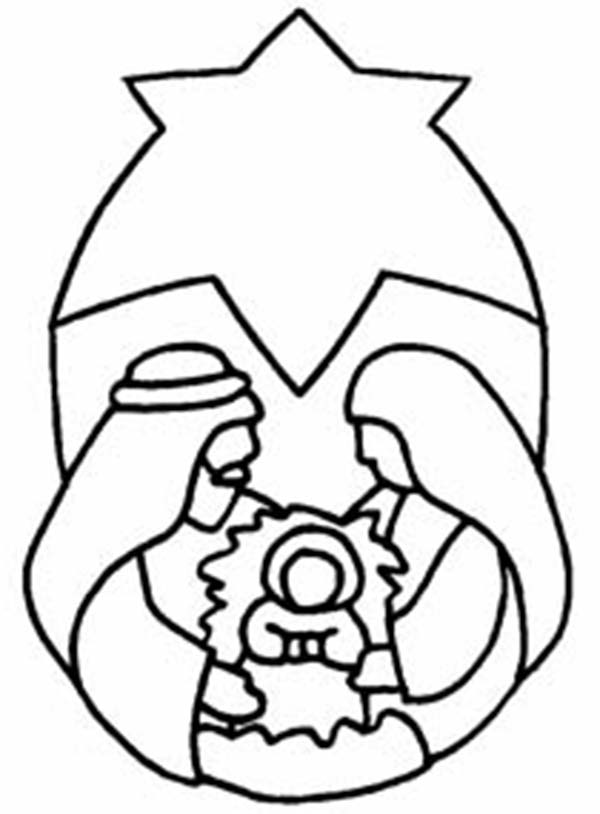 Baby Jesus, : The Nativity of Baby Jesus Coloring Page