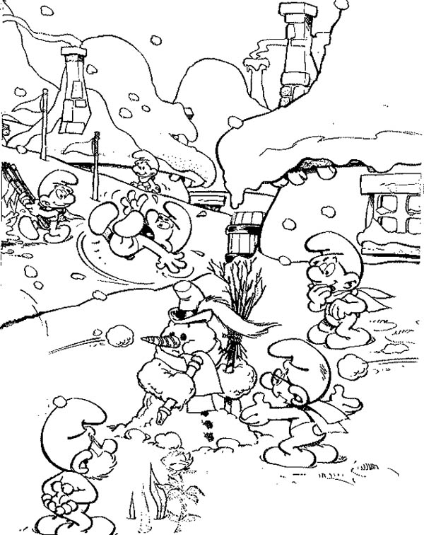 The Smurf, : The Smurf Playing Snow in the Winter Coloring Page