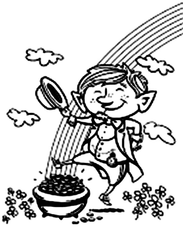 Leprechaun, : This Little Leprechaun is Happy to Find a Pot of Gold Coloring Page